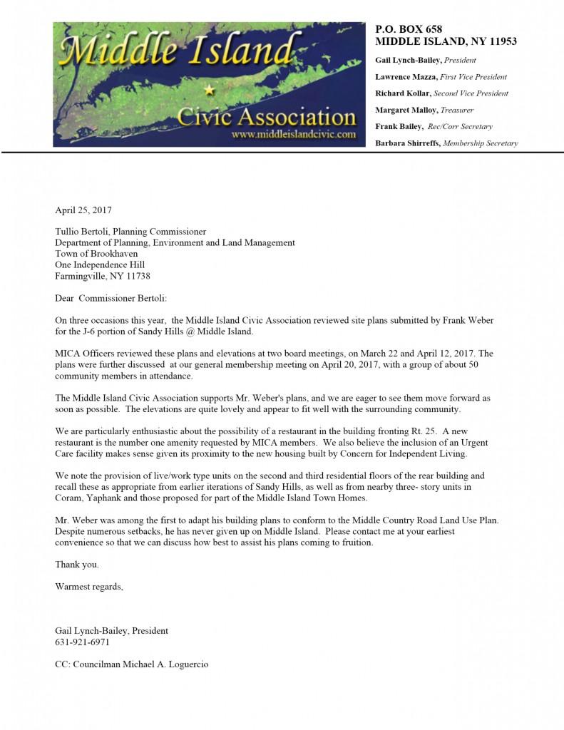 Weber support letter