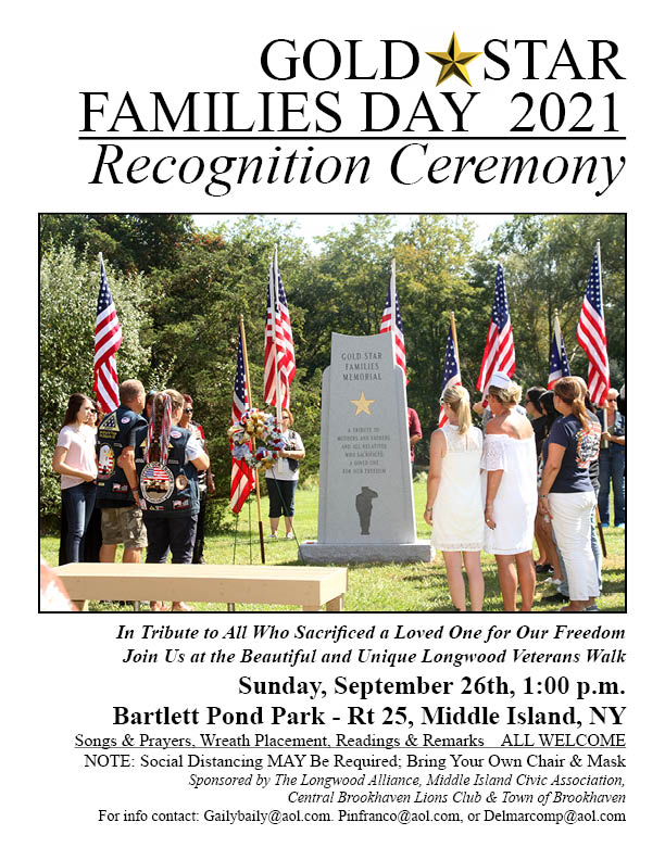 Read more about the article Gold Star Families Day Recognition Ceremony at Bartlett Pond Park on Sunday, 9/26 at 1pm